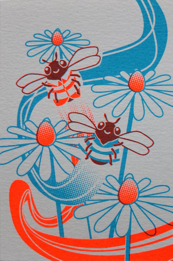 zeefdruk postkaart bijtjes bloemetjes