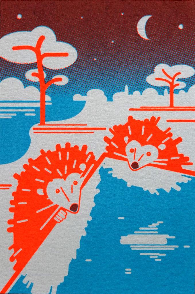 zeefdruk postkaart egels