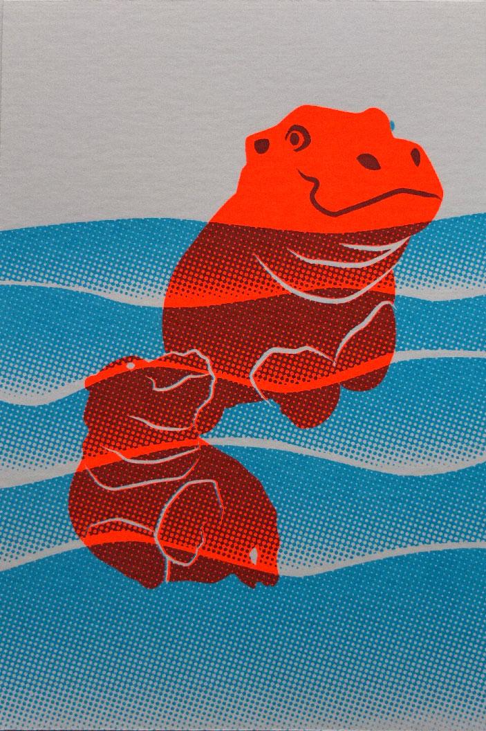zeefdruk postkaart nijlpaarden