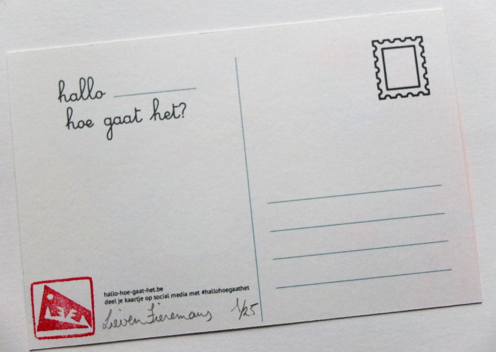 zeefdruk postkaarten dieren achterkant