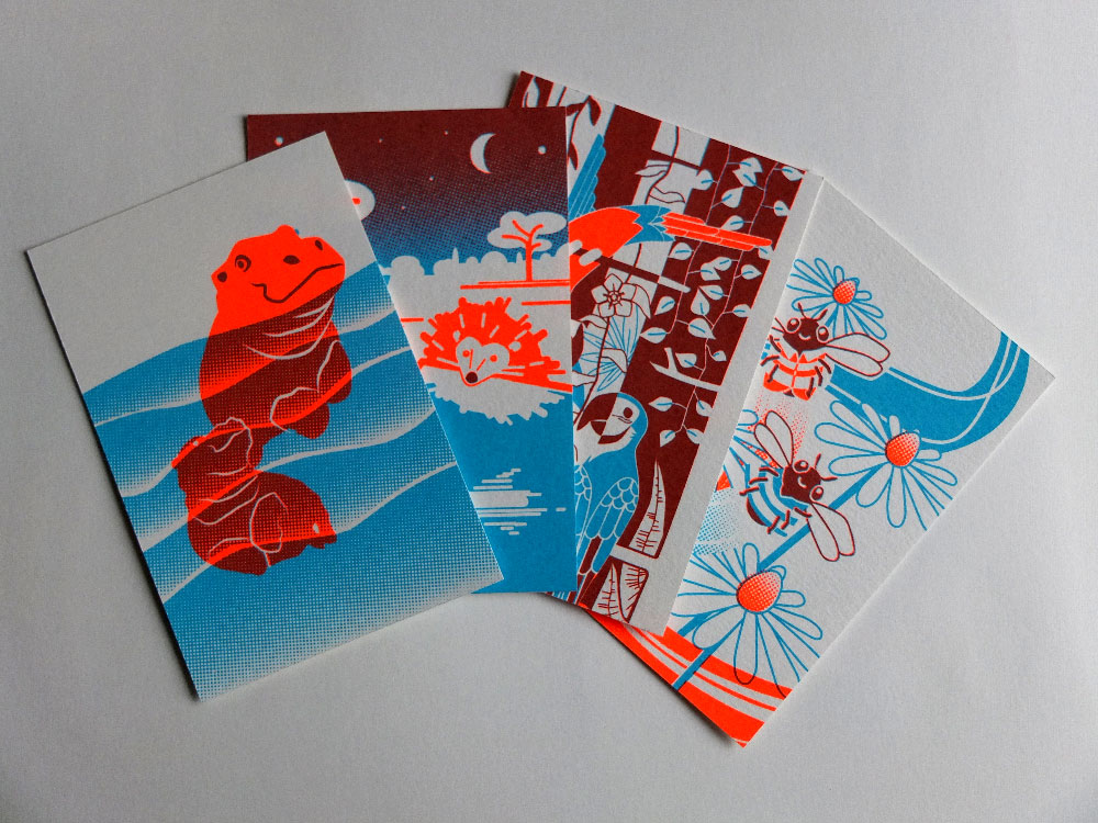 zeefdruk postkaarten screenprint postcards