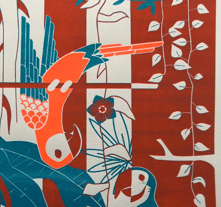 zeefdruk A2 poster papegaaien