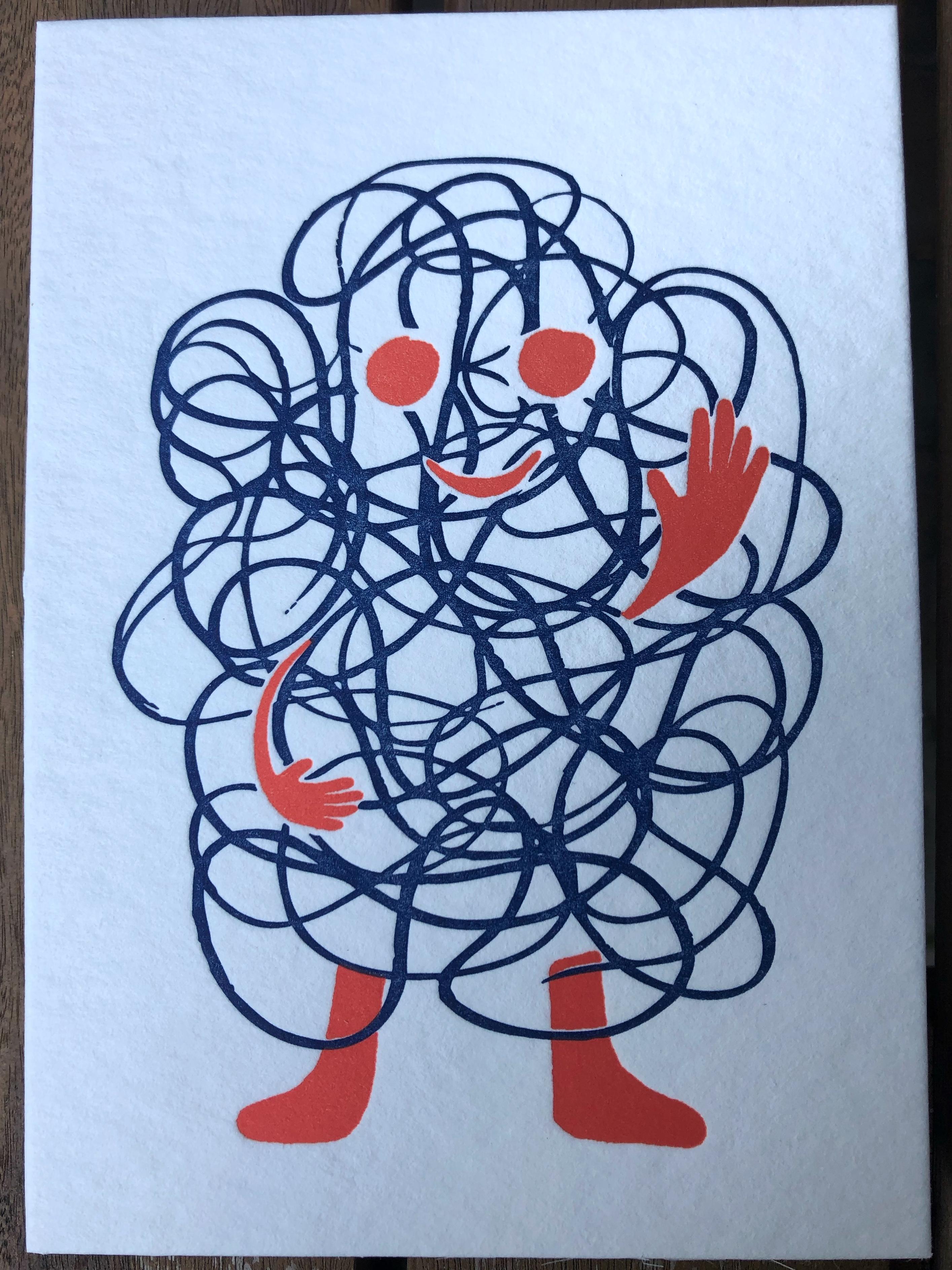 Rika, lief monstertje, letterpress postkaart