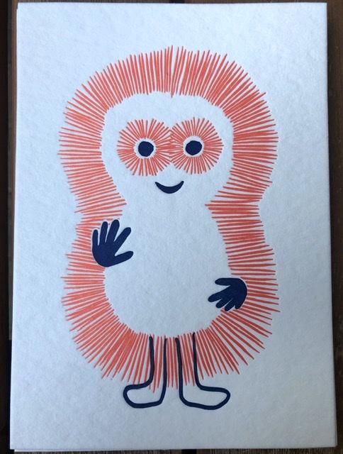 Roki, lief monstertje, letterpress postkaart